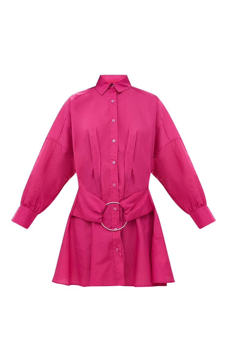 Fuchsia Ring Waist Detail Shirt Dress 3