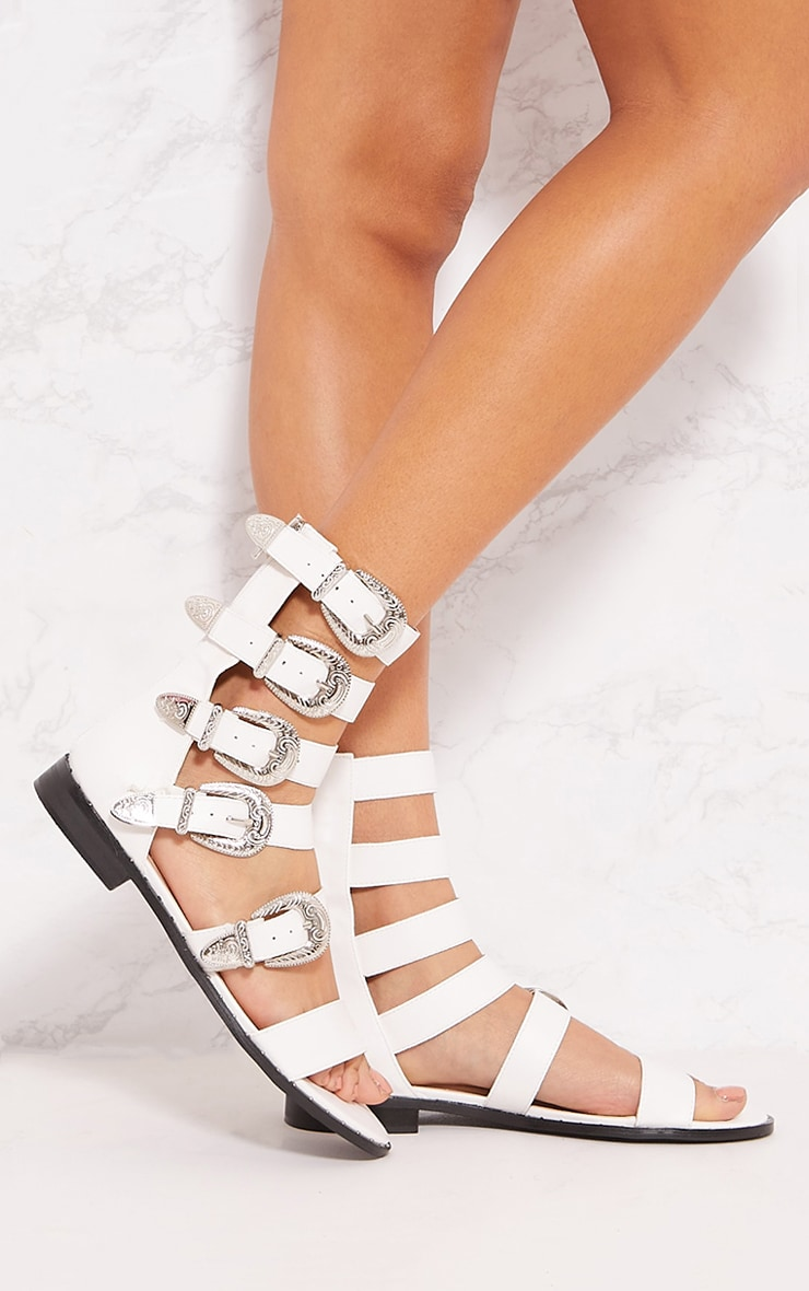 White Western Studded Buckle Sandal