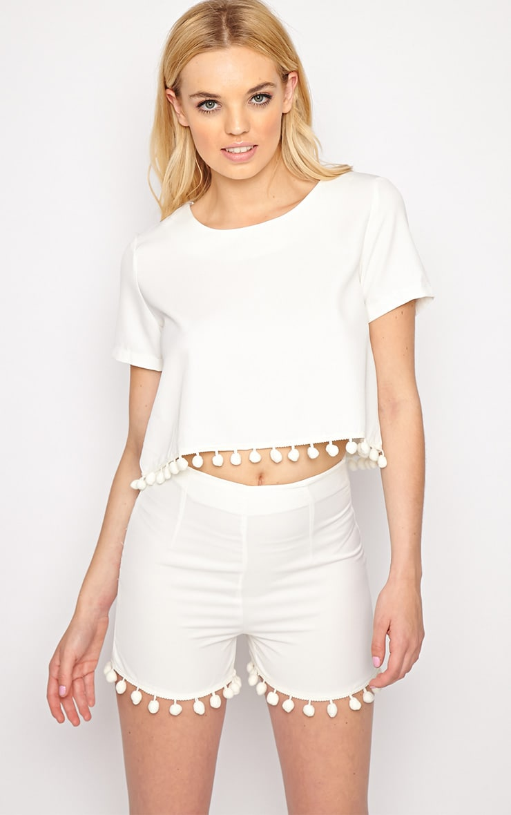 Sierra White Pom Pom Crop Top  1