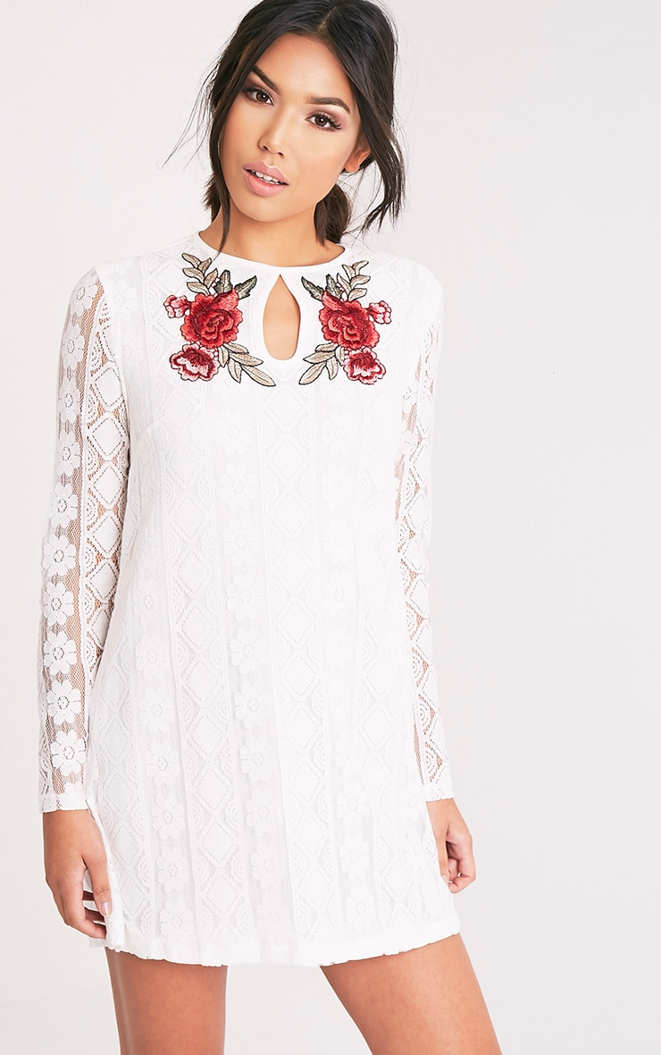 Marney White Embroidered Detail Lace Shift Dress 1