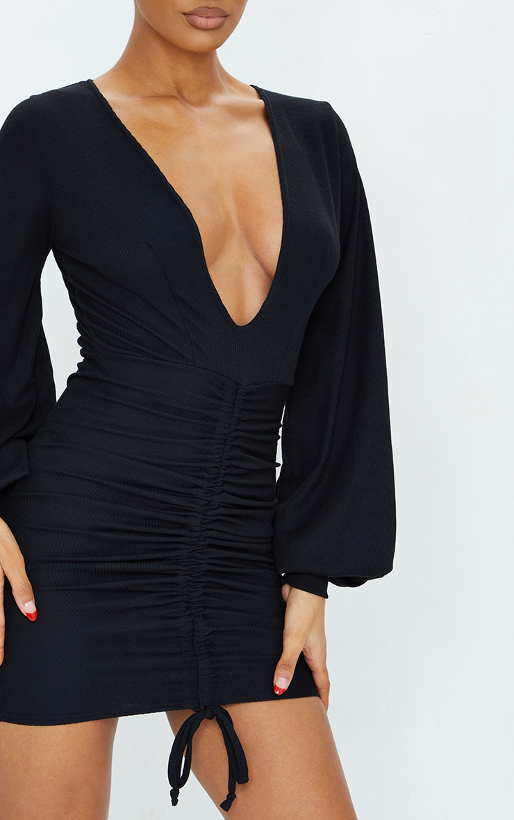 Black Ribbed Plunge Ruched Balloon Sleeve Bodycon Dress 4