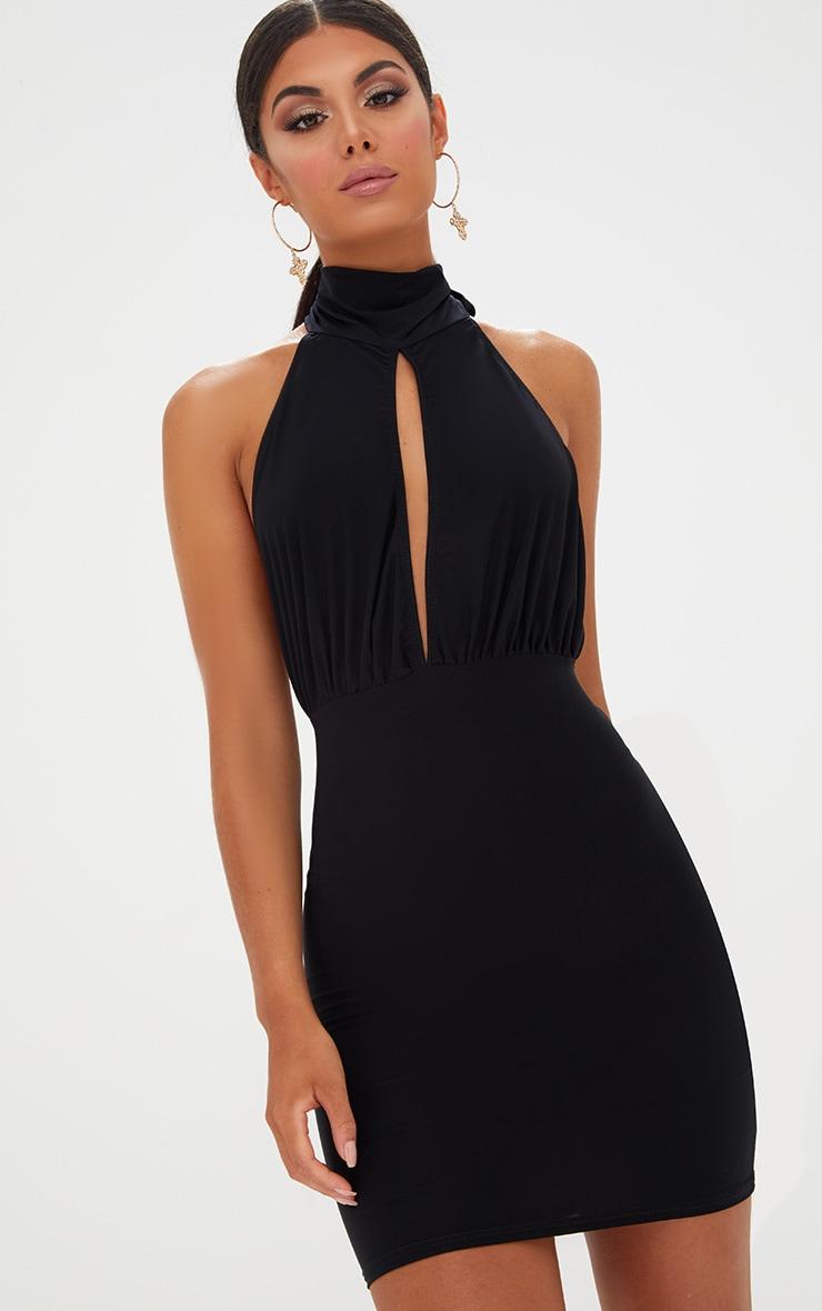 Black Slinky High Neck Bodycon Dress 1