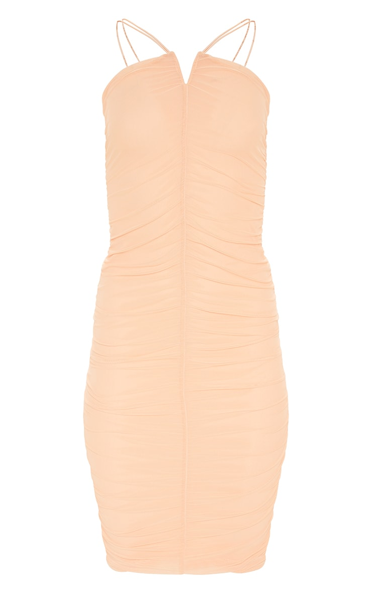 Peach Second Skin Ruched Mesh Double Strap Midi Dress 3
