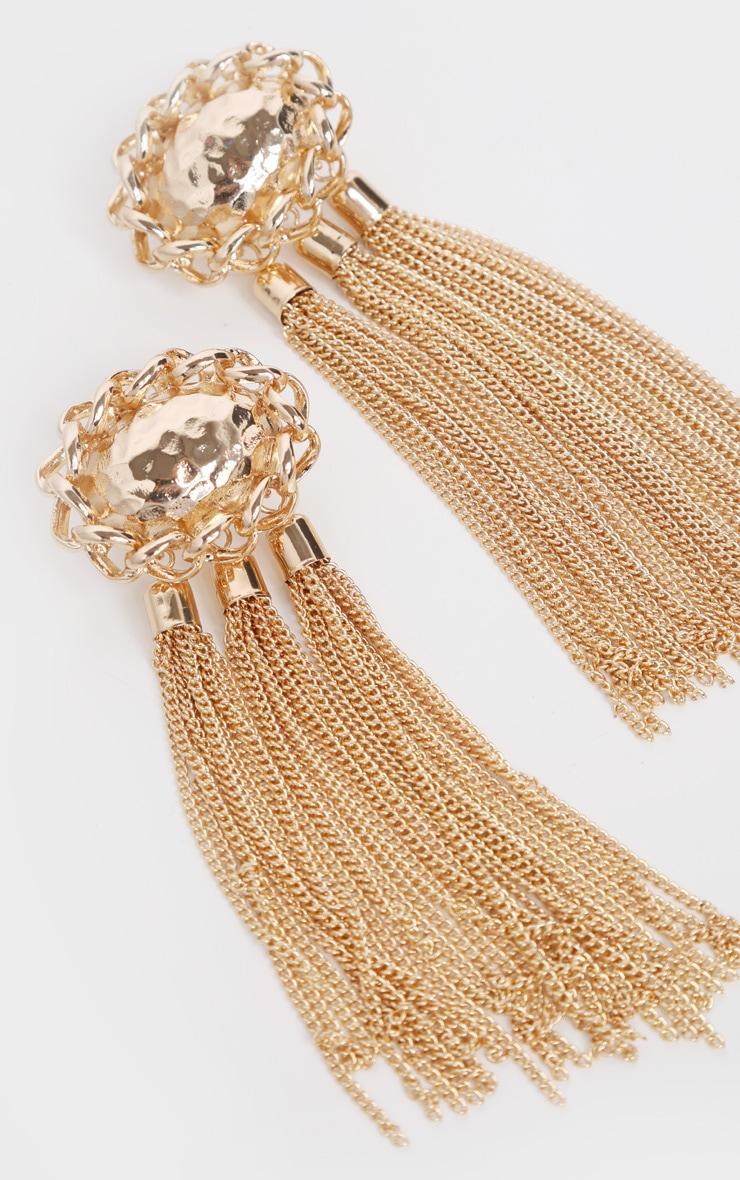 Gold Hammered Triple Tassel Drop Earrings 3