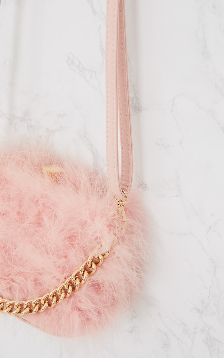 Pink Marabou Feather Clasp Chain Handle Bag 5
