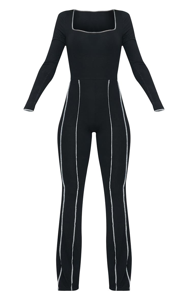 Black Seam Detail Square Neck Flare Jumpsuit 5