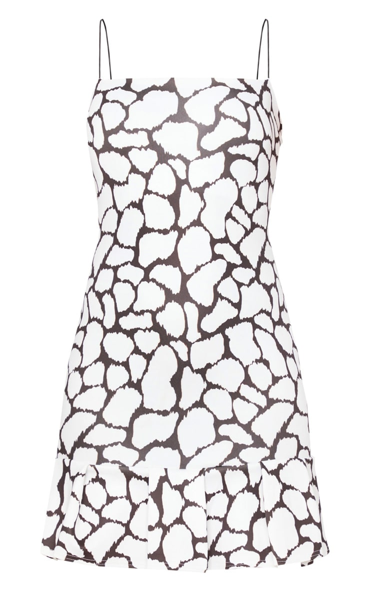 White Spot Print Scuba Frill Hem Bodycon Dress 3