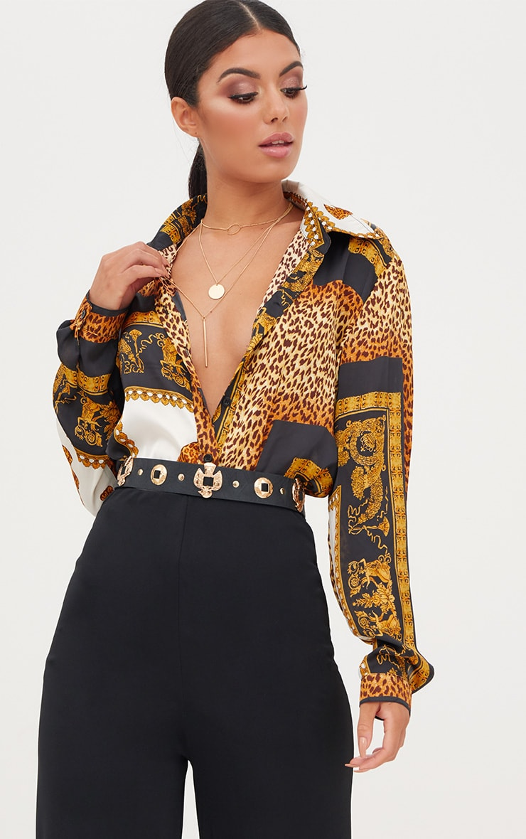 Black Leopard Print Satin Oversized Shirt