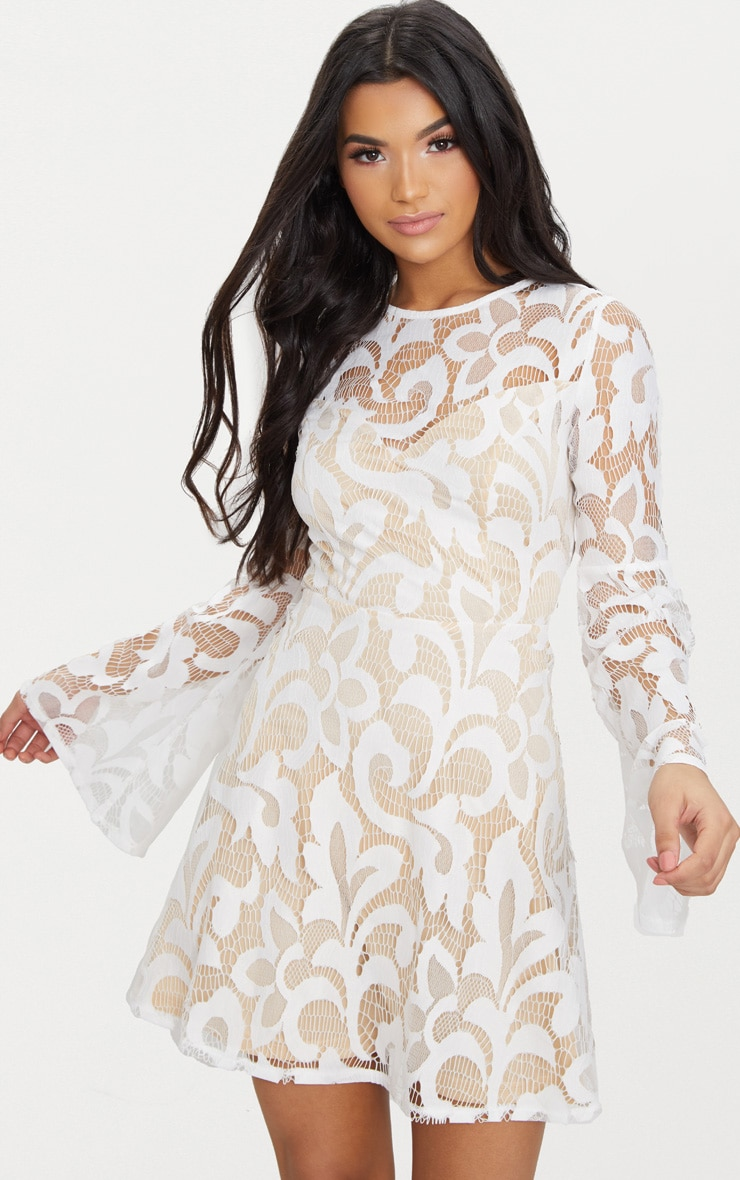 White Flare Sleeve Lace Skater Dress 1