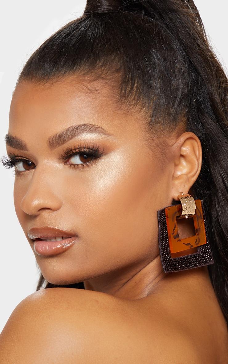 Brown Beaded  Square Drop Earrings 3
