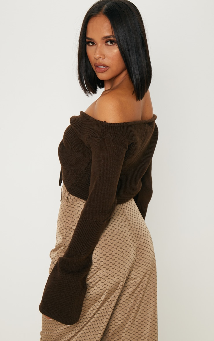 Chocolate Ruched Knit Extreme Sleeve Crop Jumper 2