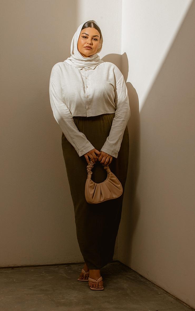 Plus Khaki Woven Midi Detail Skirt 1
