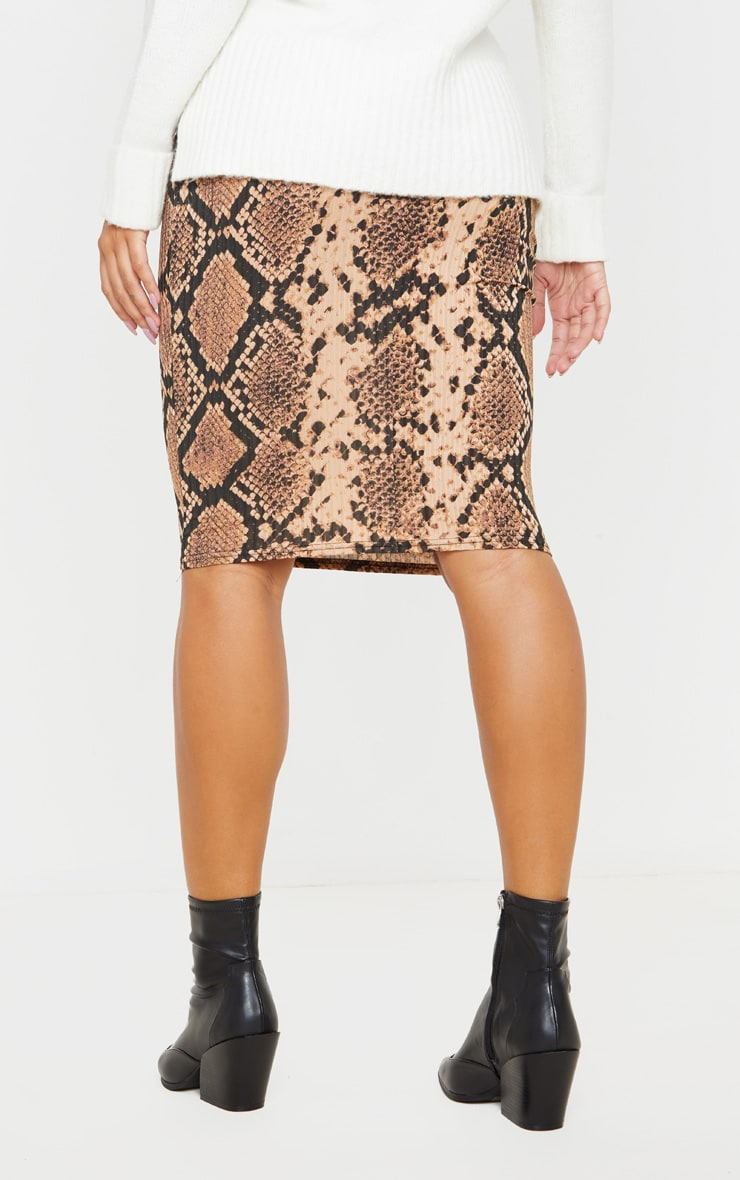 Tan Snake Print Rib Midi Skirt 4