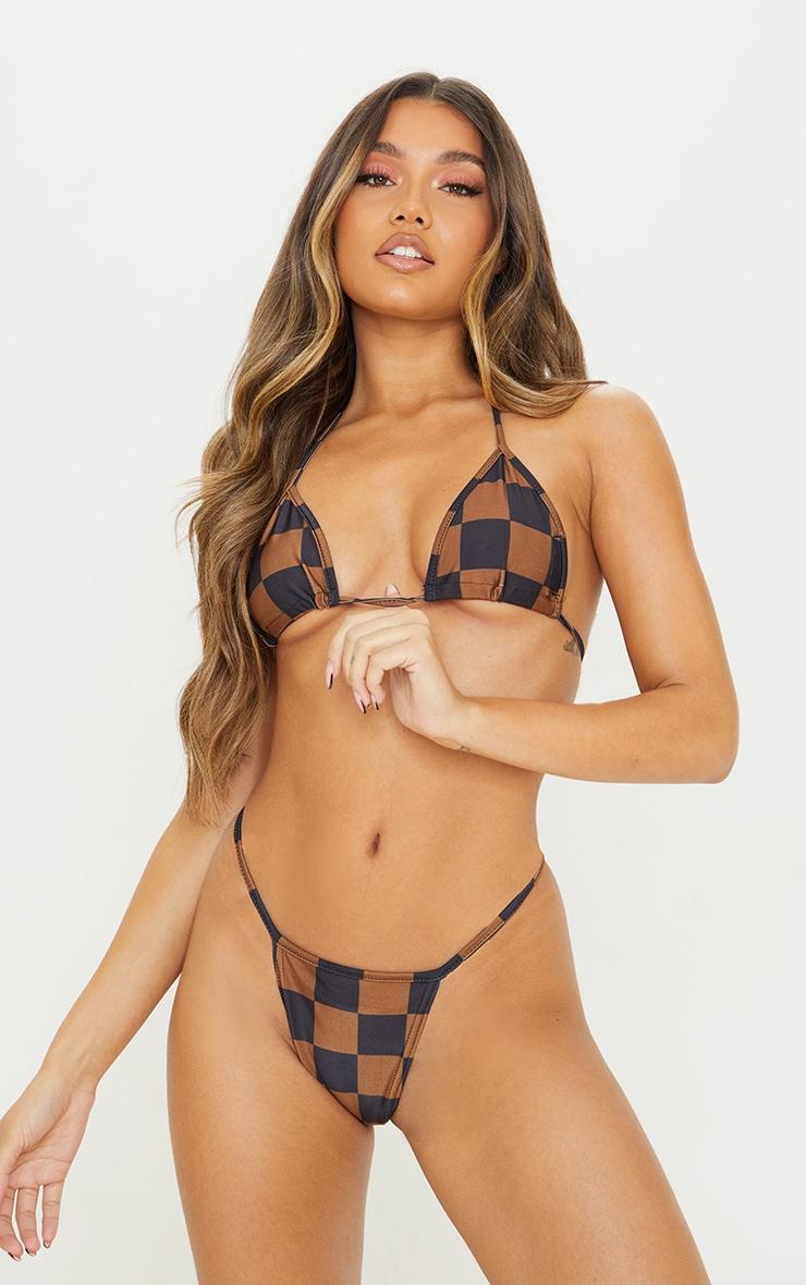 Brown Checkerboard Triangle Bikini Top 6