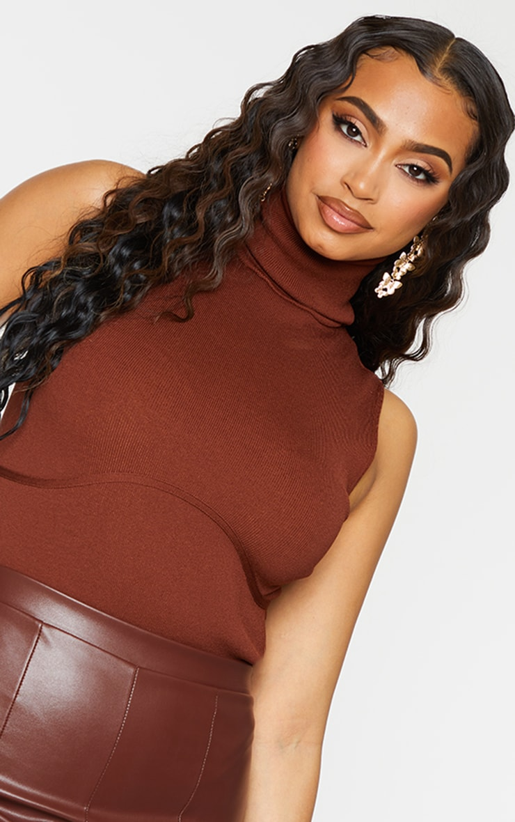 Chocolate Ribbed Bandage Bust Detail Roll Neck Bodysuit 4