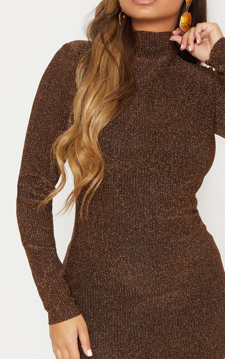 Bronze Textured Glitter High Neck Long Sleeve Bodycon Dress 6