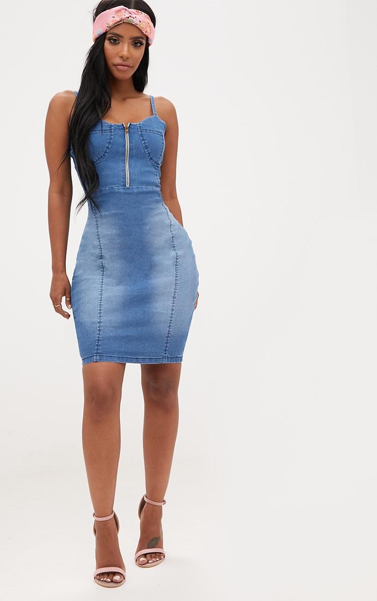 Shape Mid Wash Zip Front Bodycon Dress 4
