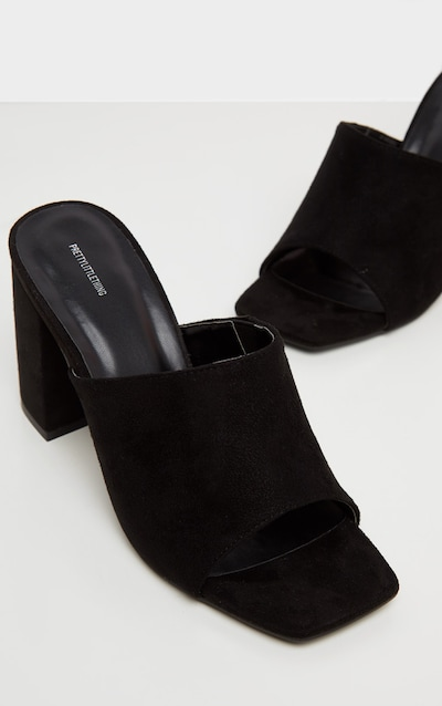 Black Faux Suede Wide Fit Chunky Block Heel Mule Sandal