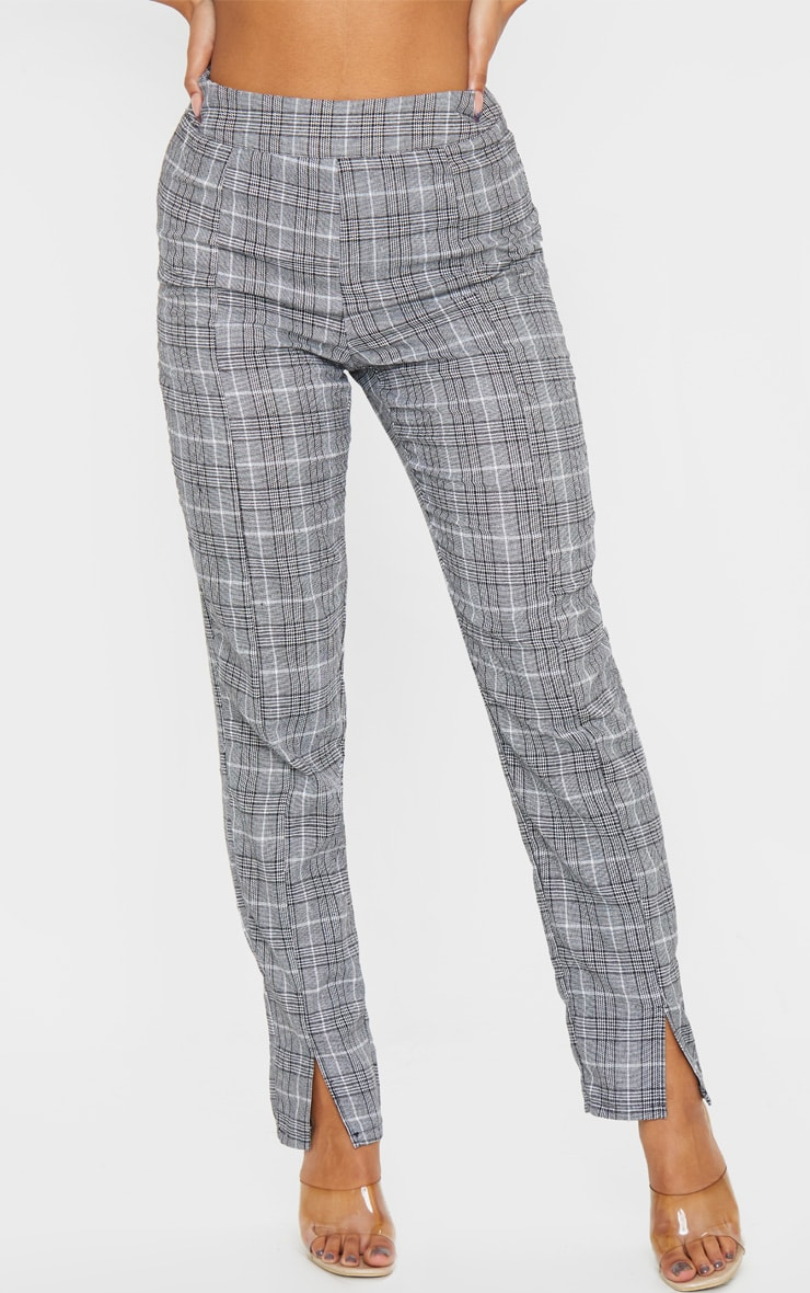 Grey Check Print Straight Leg Suit Trouser 4