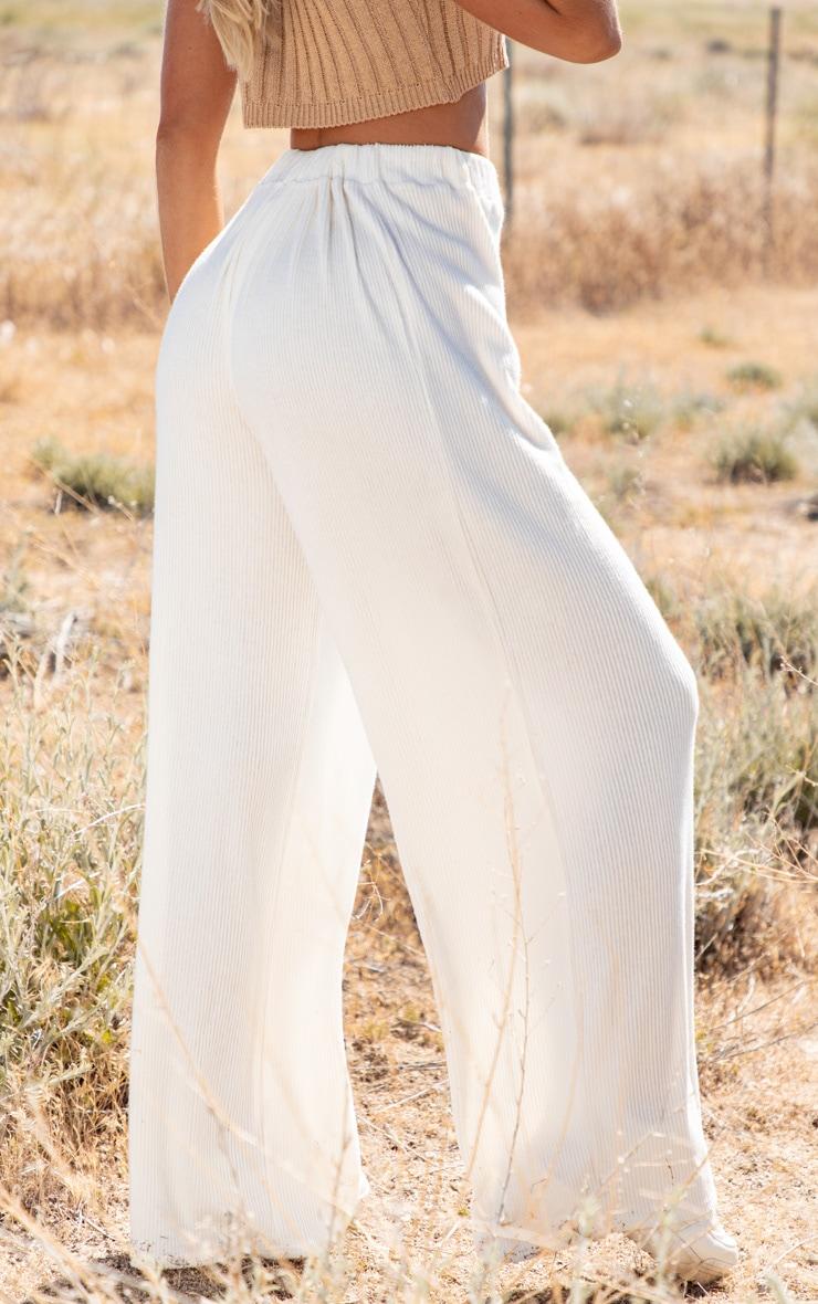Cream Brushed Rib Wide Leg Trouser 4