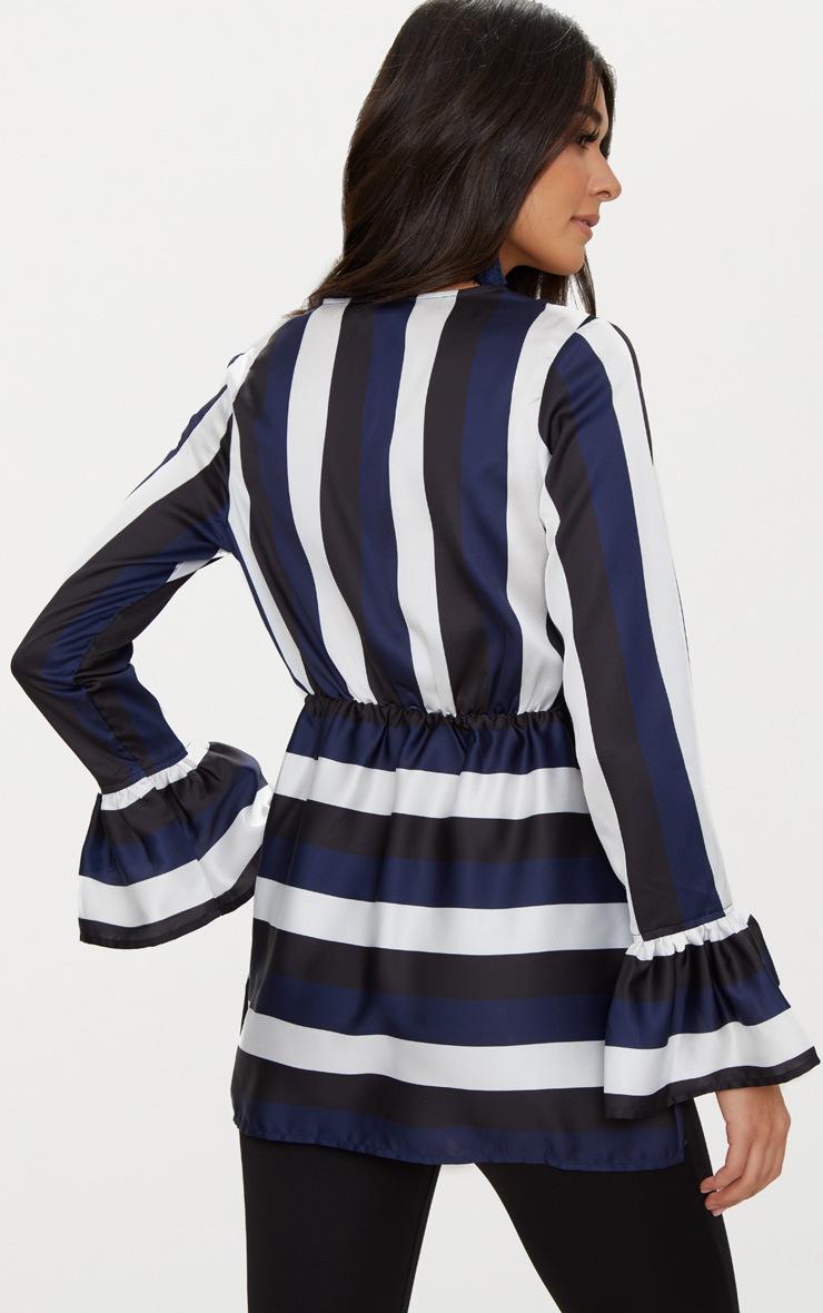 Black Satin Plunge Stripe Blouse  2