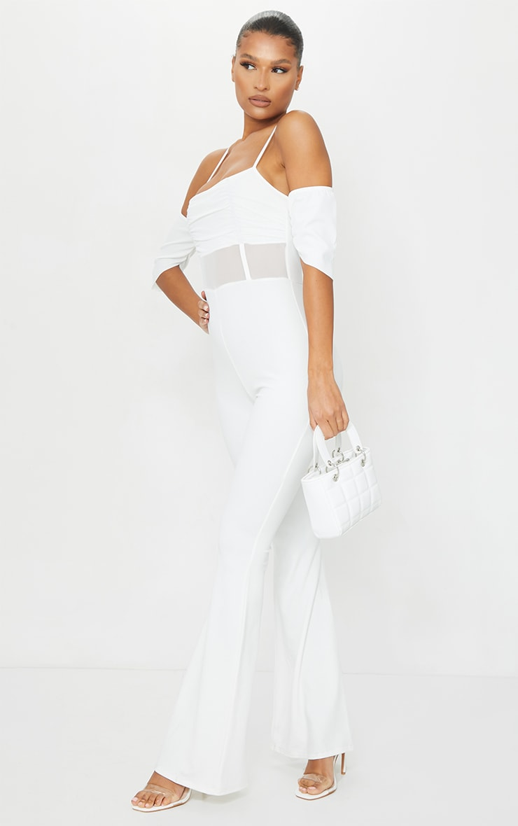 White Ruched Mesh Binding Detail Off The Shoulder Jumpsuit 3
