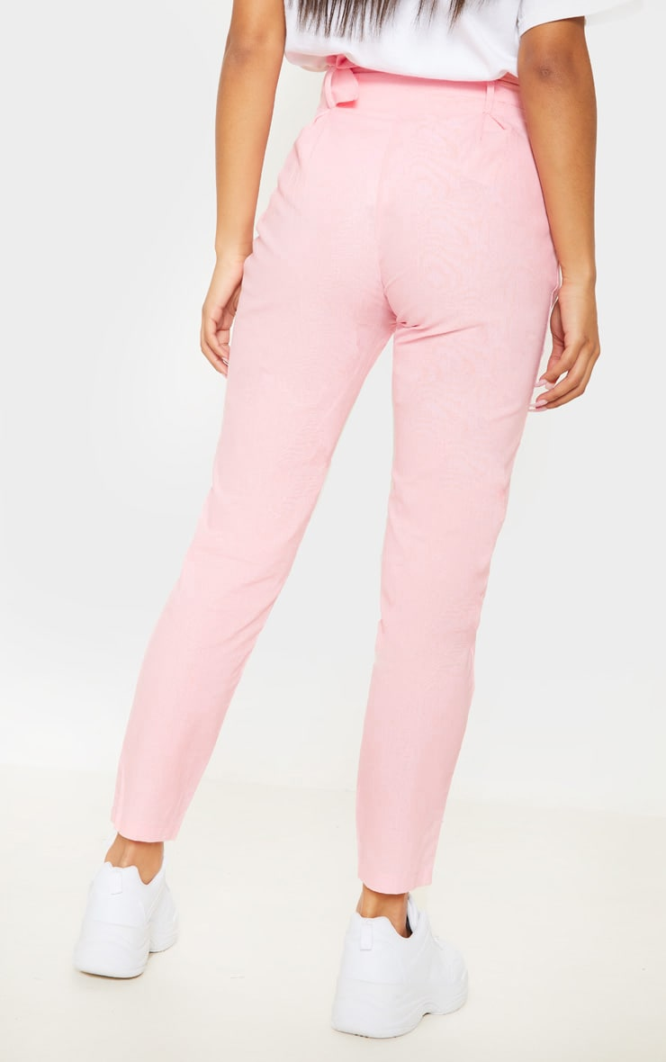 Pastel Pink Belted Paperbag Tapered Trouser 4
