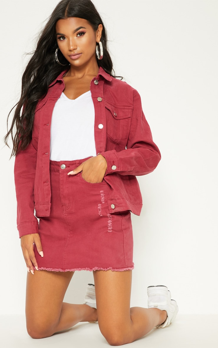 Burgundy Distressed Boyfriend Fit Denim Jacket