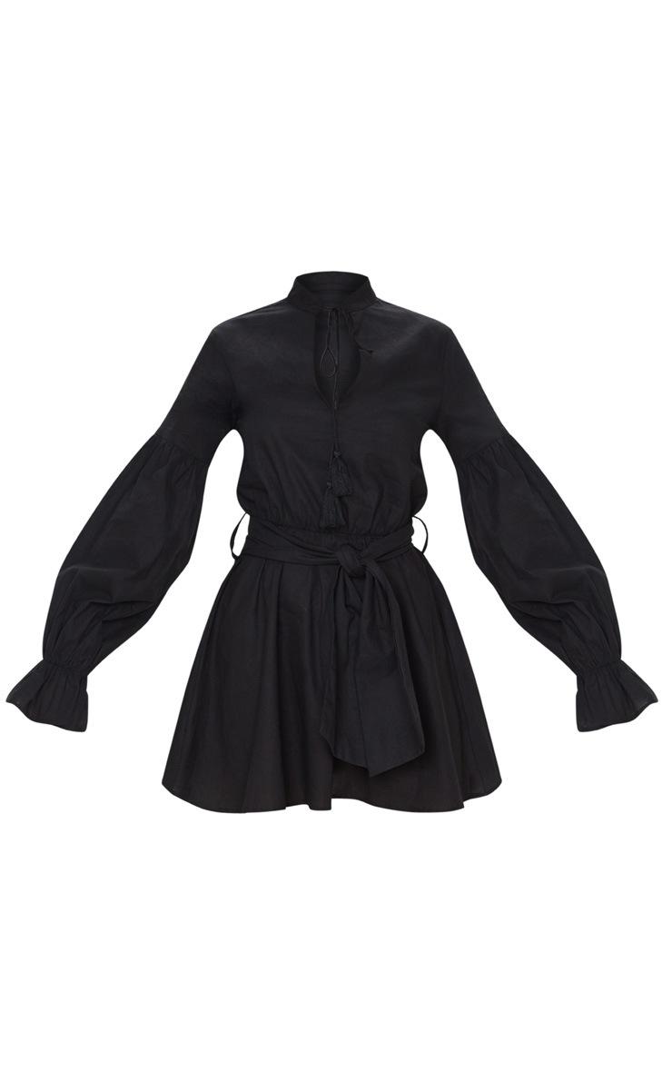 Robe patineuse noire à manches ballon et lien à nouer 3