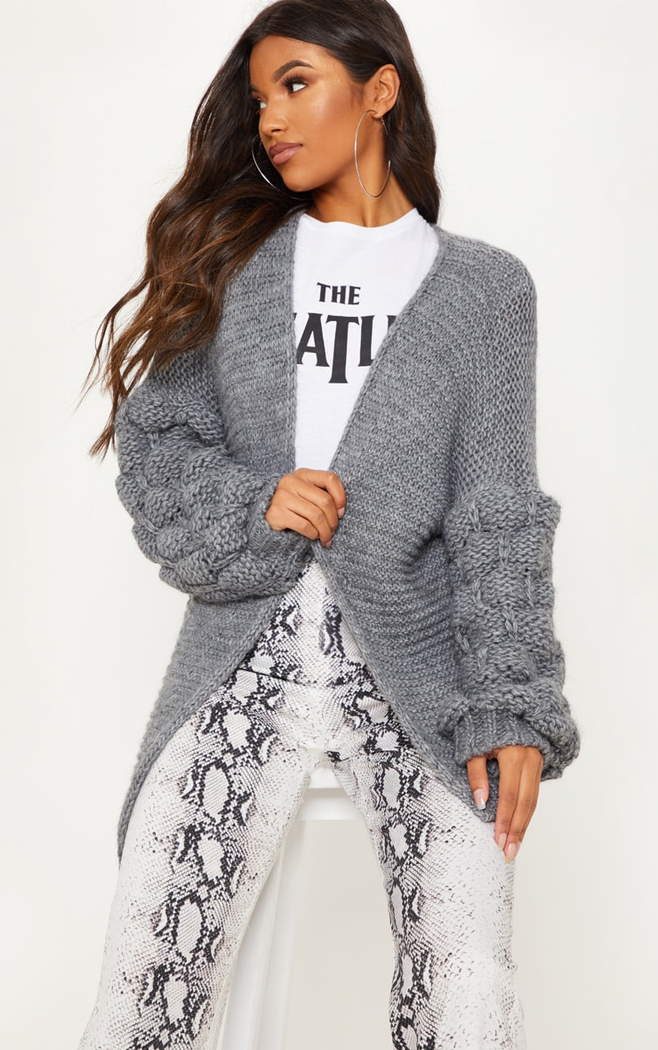 Grey Knitted Bubble Sleeve Cardigan 1