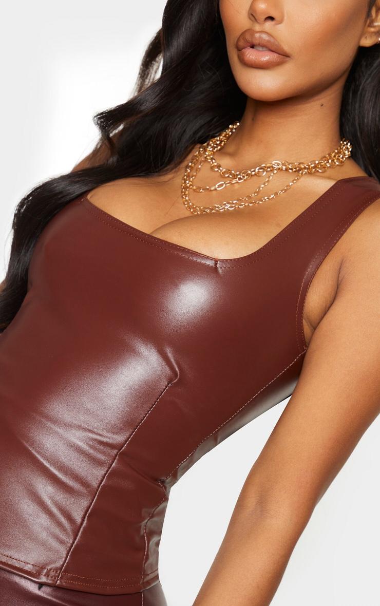 Shape Chocolate Brown PU Square Neck Corset Crop Top 5