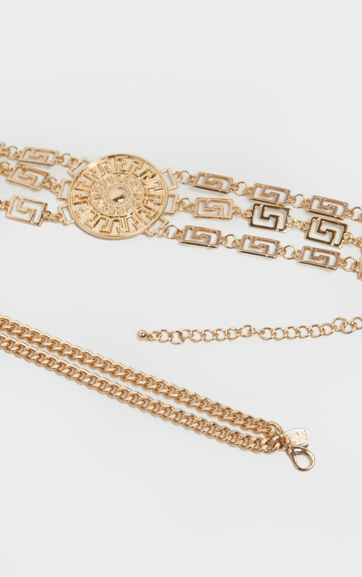 Gold Greek Key And Sun Dial Chain Belt 2