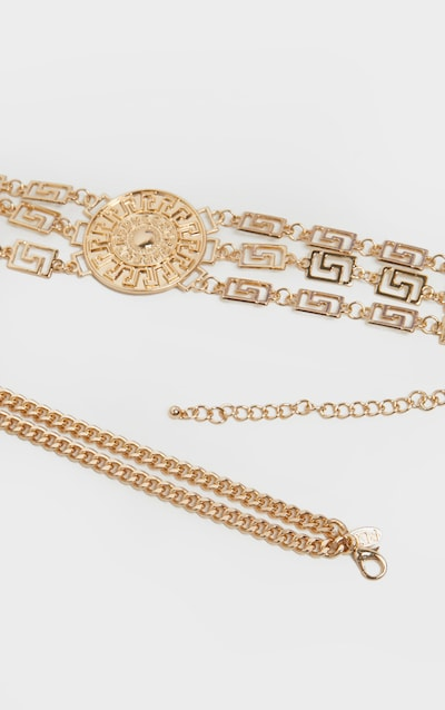 Gold Greek Key And Sun Dial Chain Belt