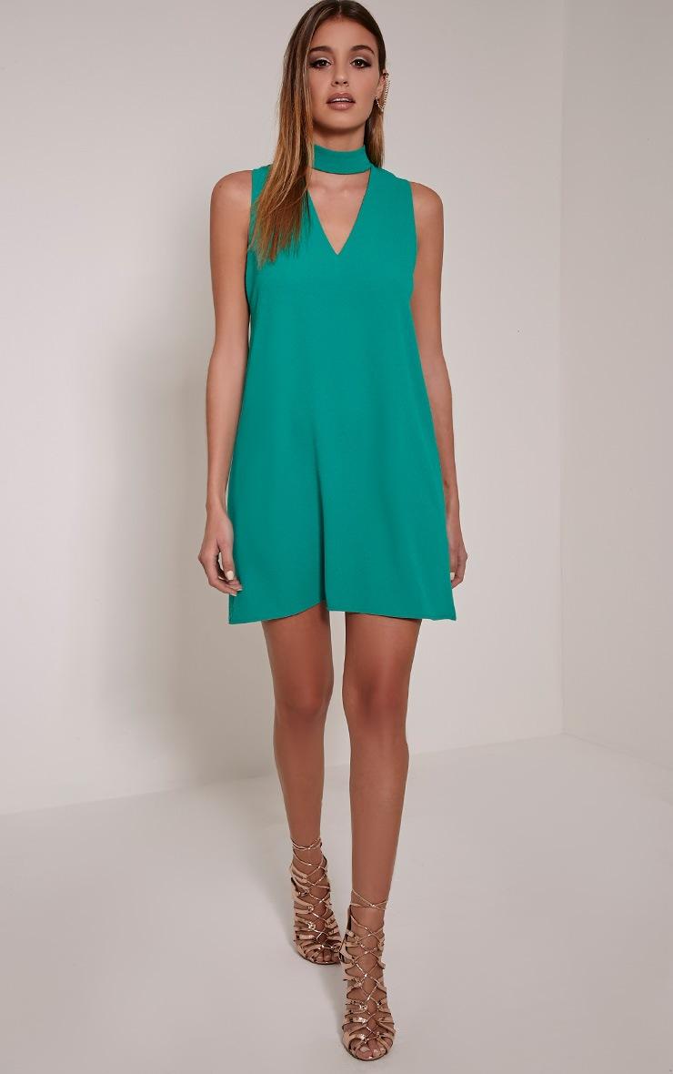Cinder Bottle Green Choker Detail Loose Fit Dress 3