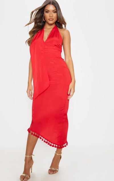 Red Halterneck Tassel Midi Dress