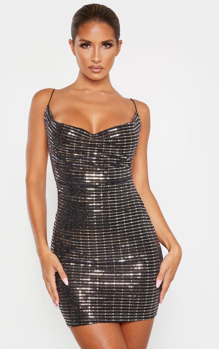 Black Strappy Sequin Cowl Bodycon Dress 1