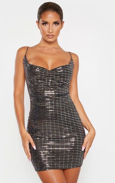 Black Strappy Sequin Cowl Bodycon Dress