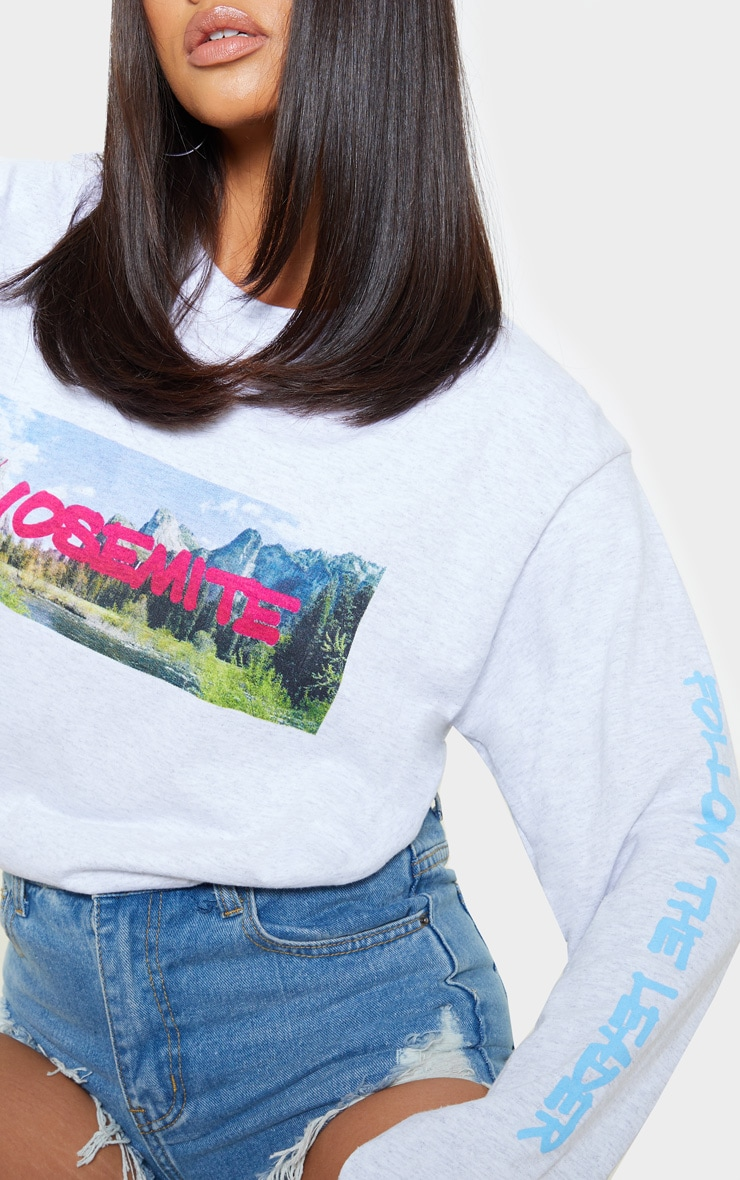 Grey Yosemite Slogan Long Sleeve T Shirt 4