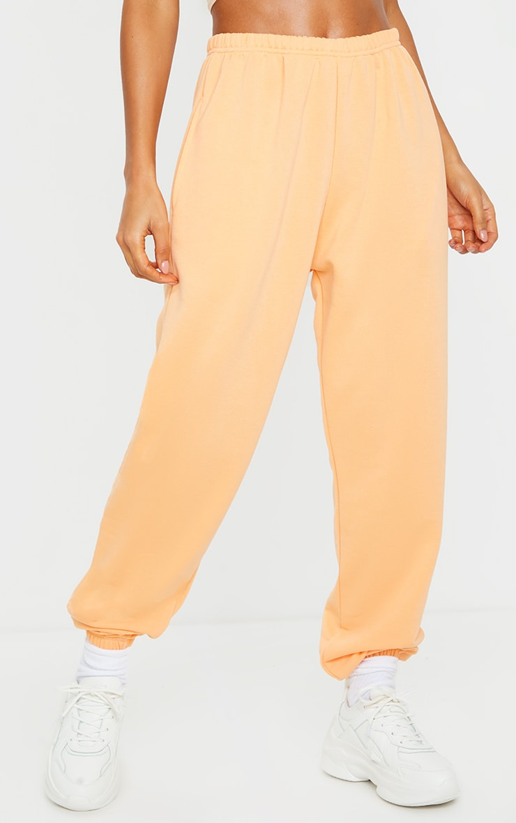 Peach Basic Cuffed Hem Joggers 2
