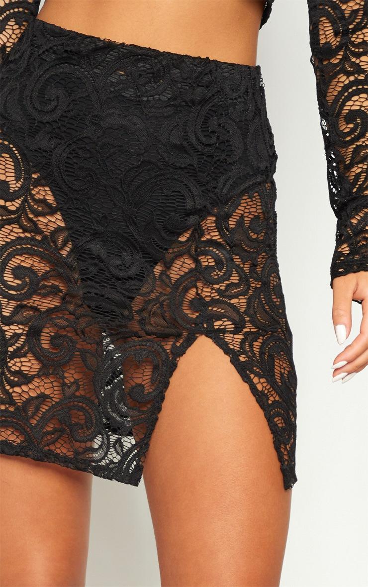 Black Lace Long Sleeve Collar Crop Top  6