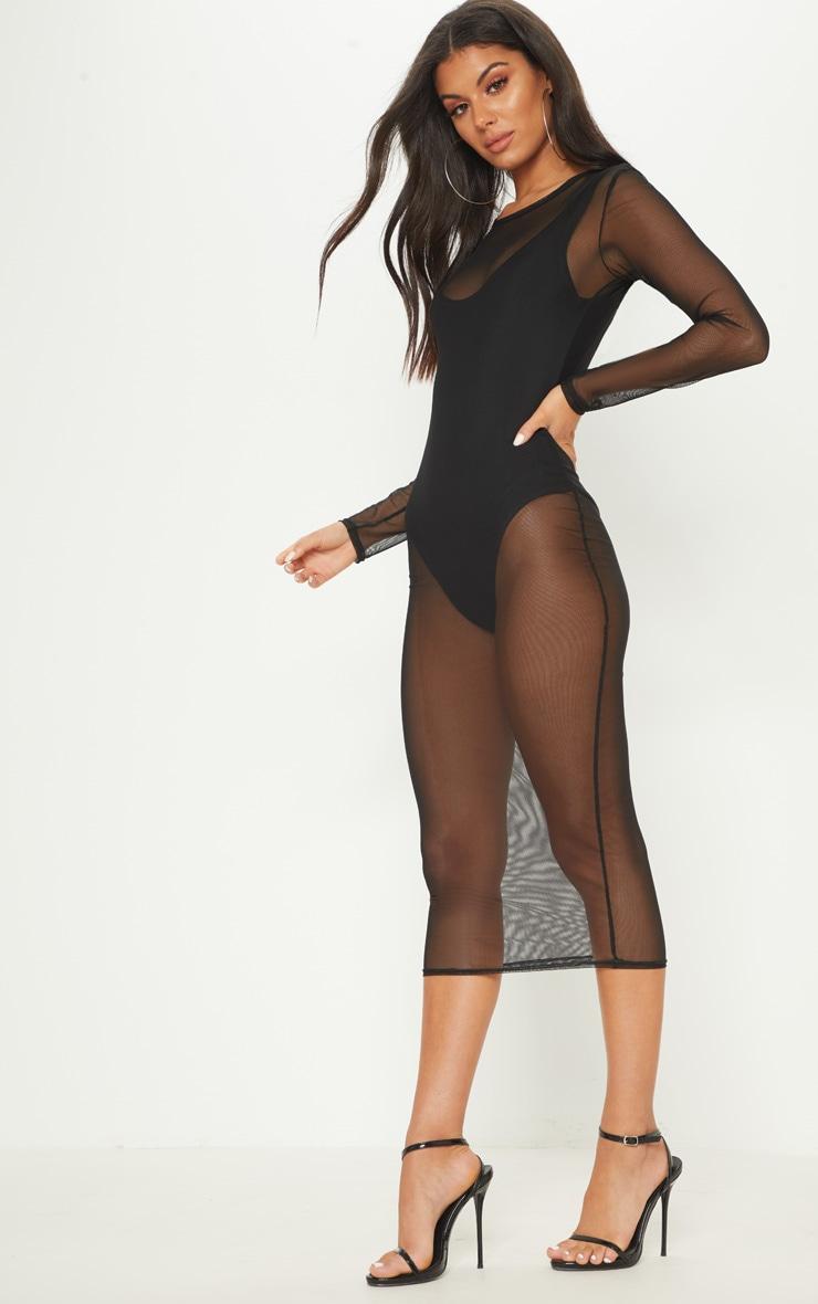 Black 2 in 1 Mesh Midi Dress 4
