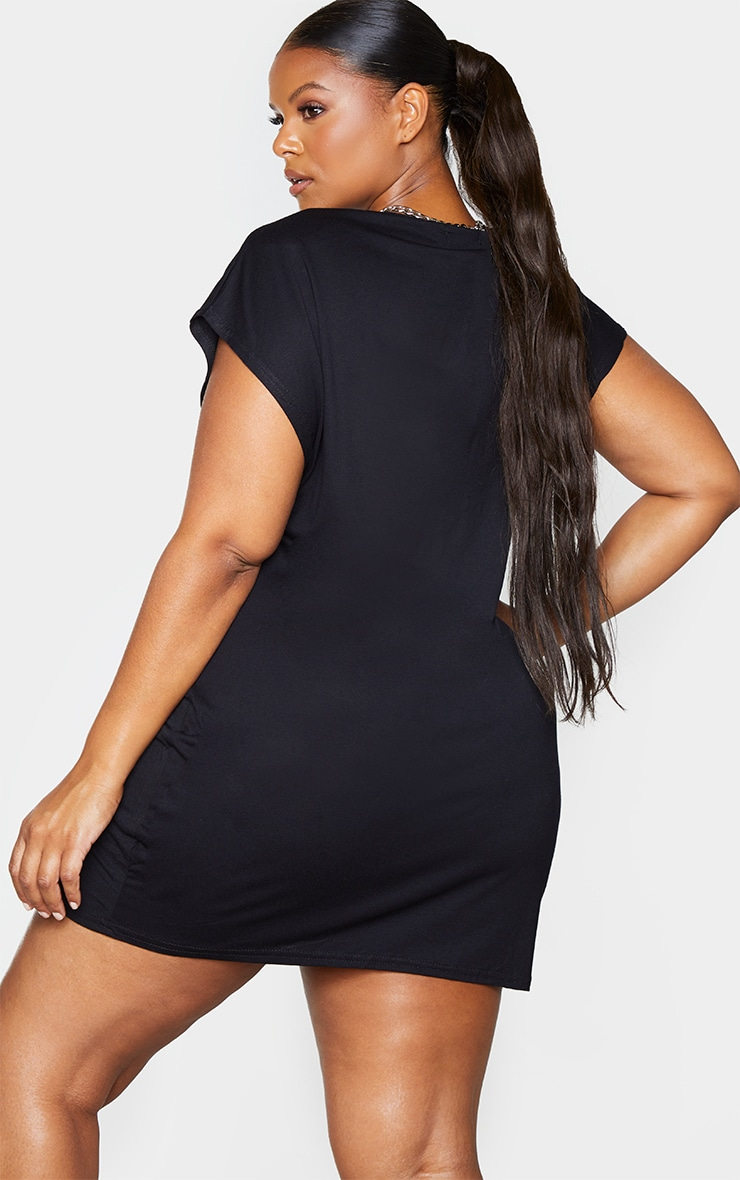 Plus Black Shoulder Pad Jersey T-Shirt Dress 2