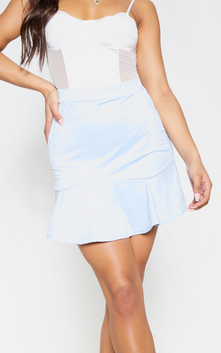 Baby Blue Faux Suede Flippy Hem Mini Skirt 6