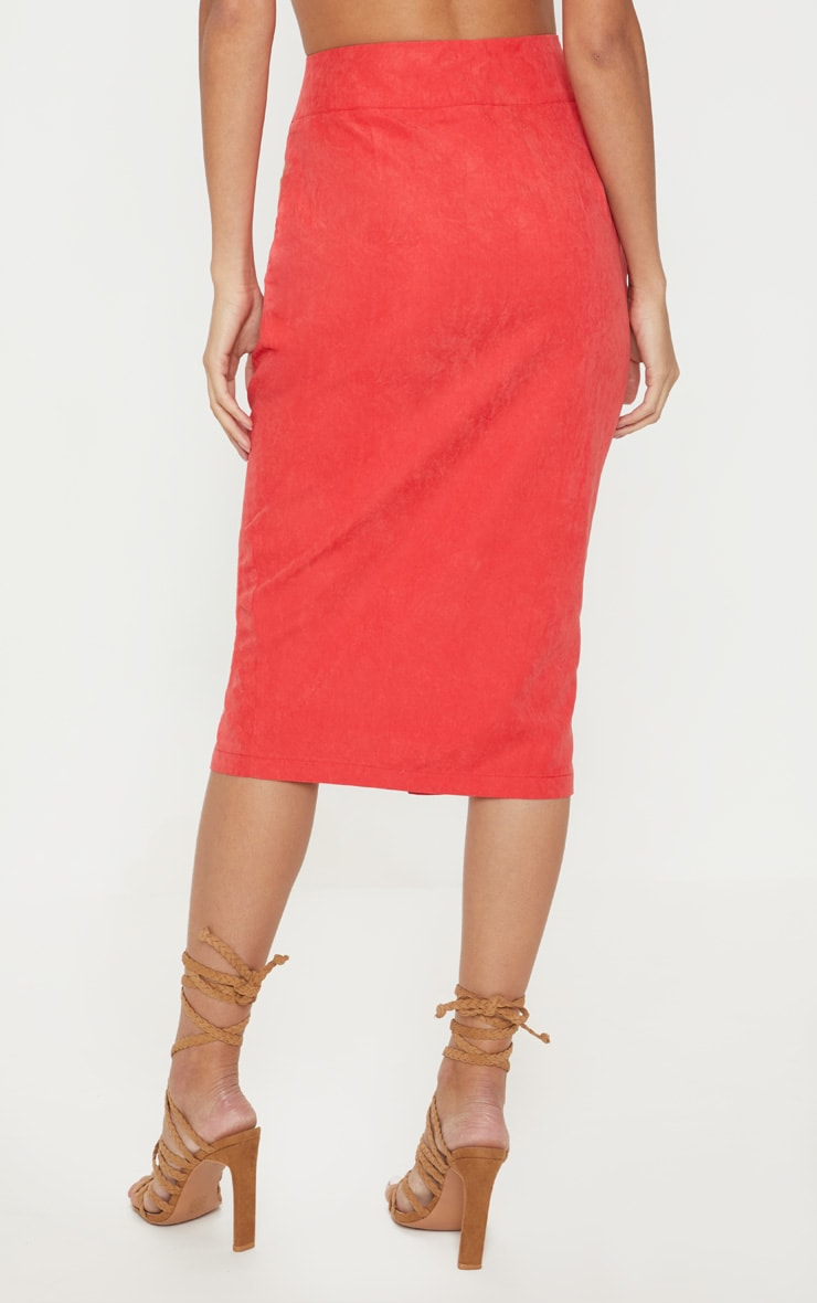 Red Faux Suede Button Front Midi Skirt 4