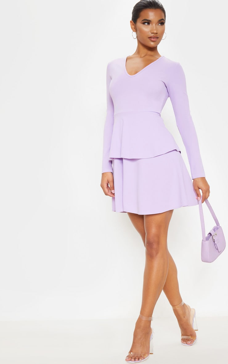 Lilac Double Tier Plunge Skater Dress 1