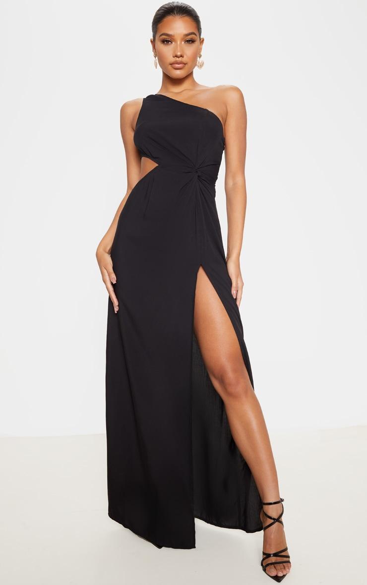 Black One Shoulder Cut Out Knot Detail Split Leg Maxi Dress 1
