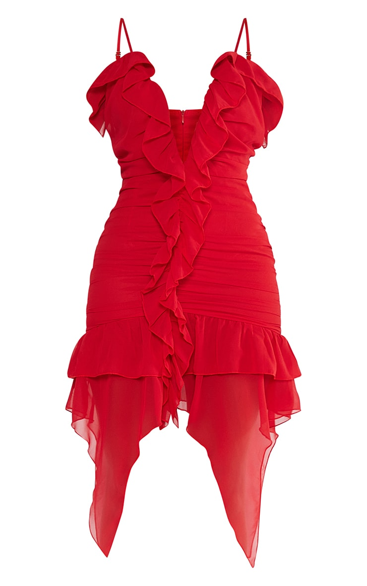 Red Chiffon Ruffle Detail Strappy Bodycon Dress 5