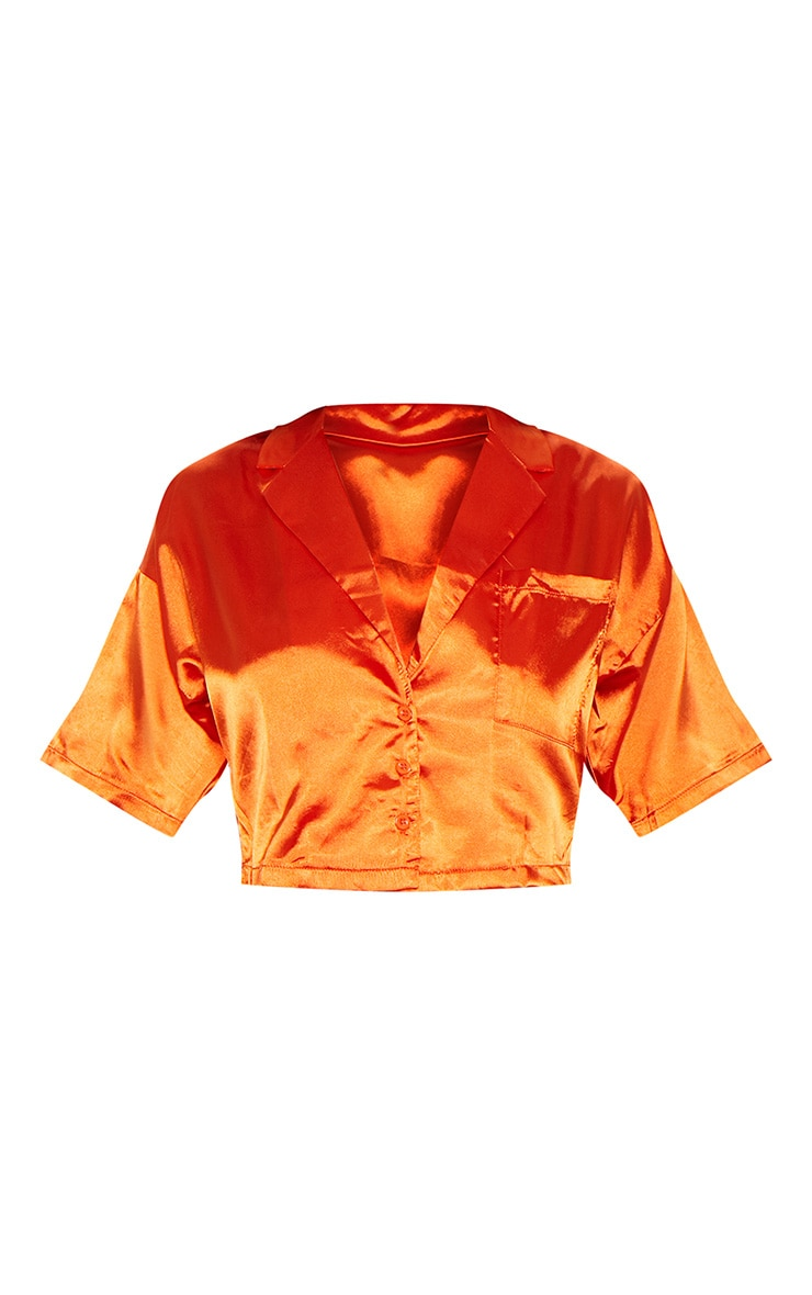Burnt Orange Satin Short Sleeve Crop Shirt  3