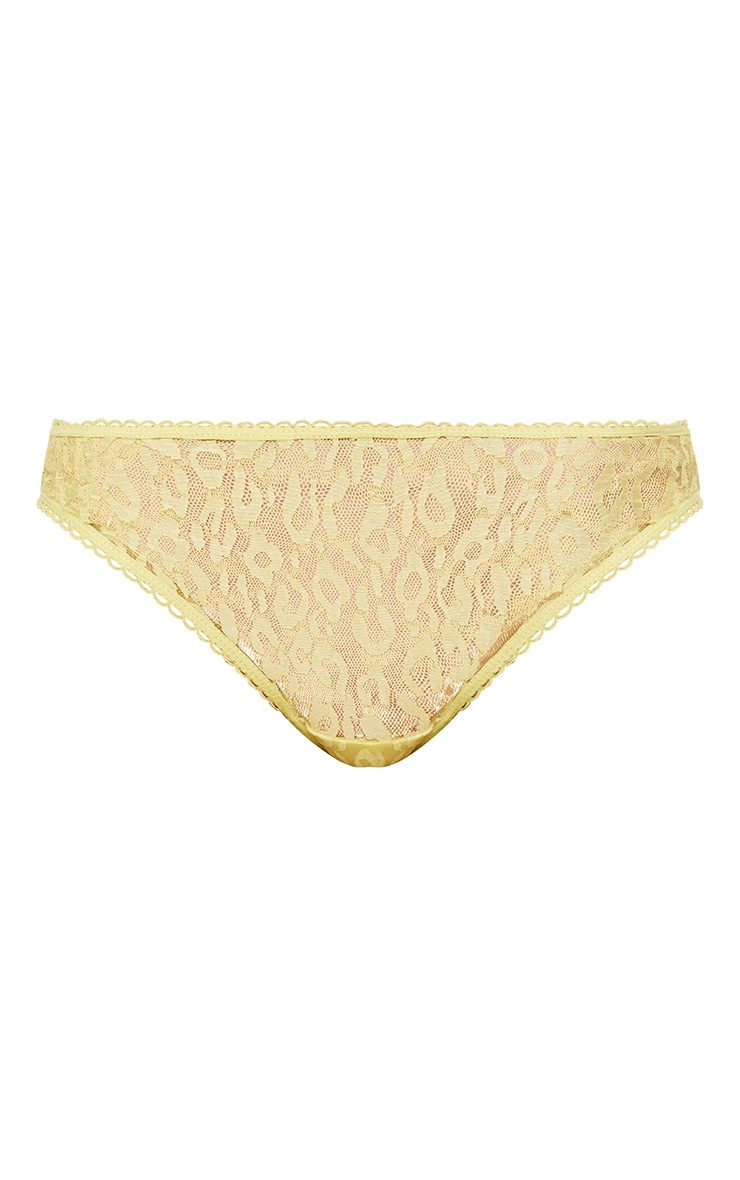 Zaidee Lemon Leopard Lace Knickers 3
