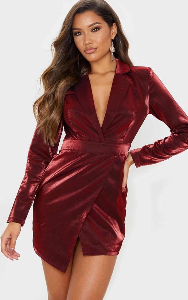 Red Metallic Shimmer Plunge Wrap Detail Blazer Dress  1